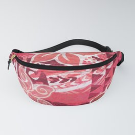 Red Hibiscus Polynesian Tapa Fanny Pack