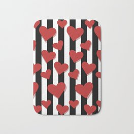 Red Hearts pattern with vertical black lines Bath Mat