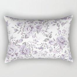 FLORAL VINTAGE ROSES MAUVE WHITE Rectangular Pillow