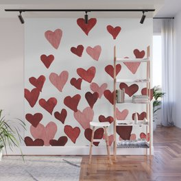 Valentine's Day Watercolor Hearts - red Wall Mural