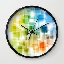 Contemporary Sparkle Blue, Green, Orange, Squares Wall Clock