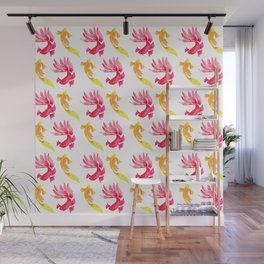Tropical Fish Pattern (red and yellow palette) Wall Mural