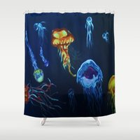 jelly fish Shower Curtains featuring Jelly-Jelly-Fish by Fknjedi1