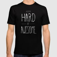 Work Hard Be Awesome MEDIUM Black Mens Fitted Tee