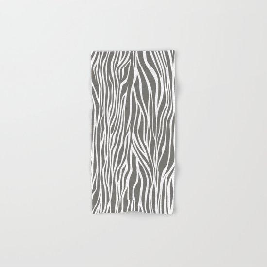 Safari Zebra Print - Grey & White Hand & Bath Towel