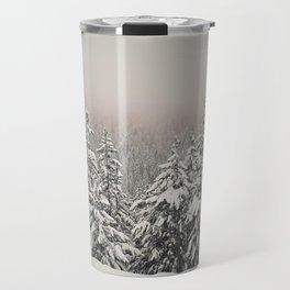 foggy fir forest Travel Mug
