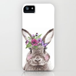Bunny with flowers iPhone Case