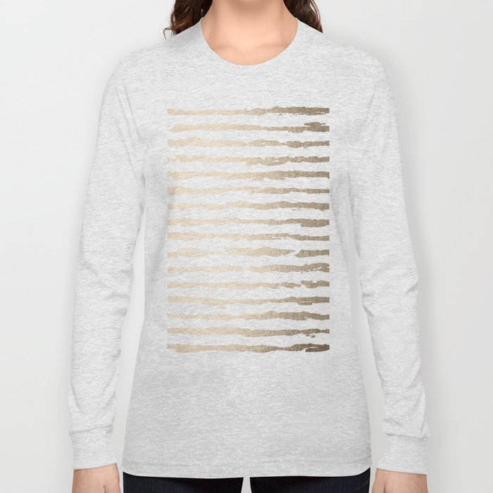 Simply Brushed Lines White Gold Sands on White Long Sleeve T-shirt