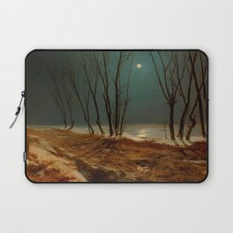Carl Blechen - Landscape in Winter at Moonlight - German Romanticism - Oil Painting Laptop Sleeve
