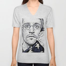 Snowden Artistic Illustration Pencil draw Style Unisex V-Neck
