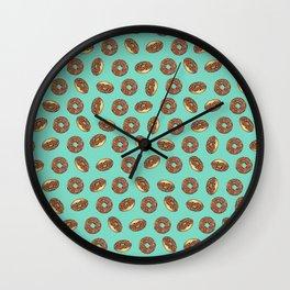 Chocolate donuts on Aqua Wall Clock