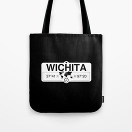 Wichita Map GPS Coordinates Artwork with Compass Tote Bag