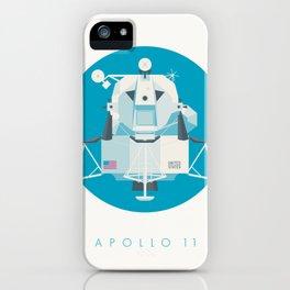 Apollo 11 Lunar Lander Module - Text Cyan iPhone Case