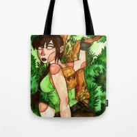 lara croft Tote Bags featuring Lara Croft by Jazmine Phillips