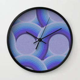 Rollin' Retro Road in Blue Ombre Textured Wall Clock