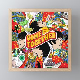 Come Together (Red and Blue) Framed Mini Art Print