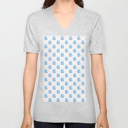 Three blue water droplets falling with white background repeat pattern Unisex V-Neck