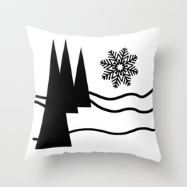 Christmas Trees and Snow Throw Pillow