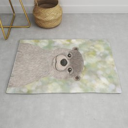 river otter woodland animal portrait Rug
