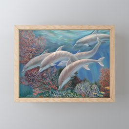 Happy Family - Dolphins Are Awesome Framed Mini Art Print