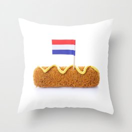 Dutch meat croquette ('kroket'), mustard, Dutch flag, isolated on white Throw Pillow