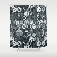 blankets Shower Curtains featuring Math Class by Chicca Besso