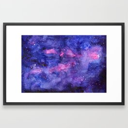 Galaxy Pattern Watercolor Framed Art Print