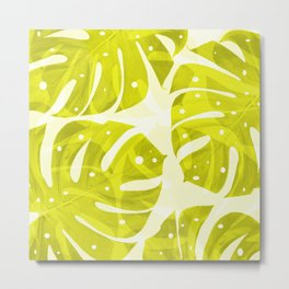 Lime Green Monstera Leaves Light Background #decor #society6 #buyart Metal Print