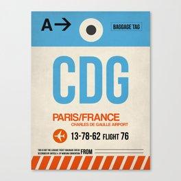 CDG Paris Luggage Tag 2 Canvas Print