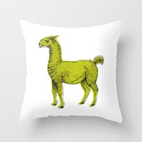 llama Throw Pillows featuring llama by youareconstance