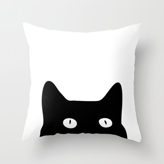 Black Cat Throw Pillow by goodsense Society6
