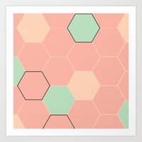 hexagon Art Prints featuring Hexagon  by Studio Joan