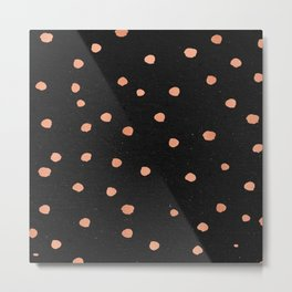 Rose Gold Dots on Black Pattern Metal Print