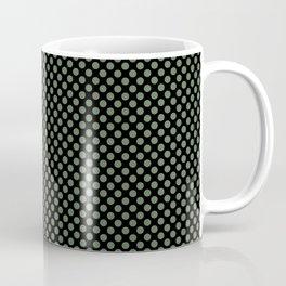 Black and Vineyard Green Polka Dots Coffee Mug