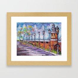 Novgorod kremlin. Russia. Painting by oil pastel Framed Art Print