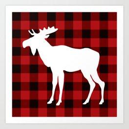 White Moose   Red Buffalo Plaid Art Print