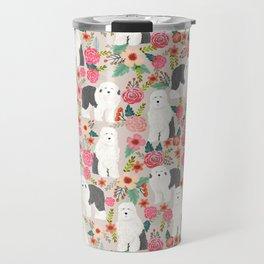 Old English Sheepdog floral dog breed pet art pattern gifts Travel Mug