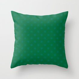 Teal Green on Cadmium Green Snowflakes Throw Pillow