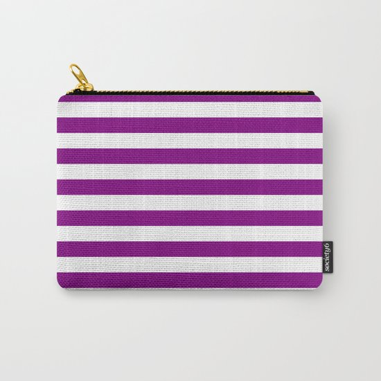 Horizontal Stripes (Purple/White) Carry-All Pouch