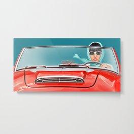 Woman in a vintage cabriolet Metal Print