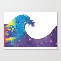 hokusai Canvas Prints featuring Hokusai Universe by FACTORIE