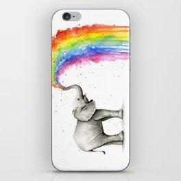 Baby Elephant Spraying Rainbow iPhone Skin