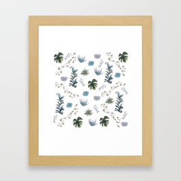 Indoor plant pattern Framed Art Print