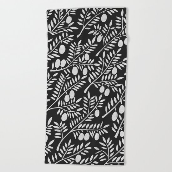 White Olive Branches Beach Towel