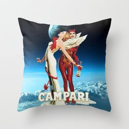 Classic Campari Alcoholic Angel & Devil - Earth, Sun, and Stars Aperitif Advertising Vintage Poster Throw Pillow