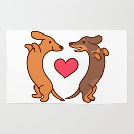 Cute cartoon dachshunds in love Rug