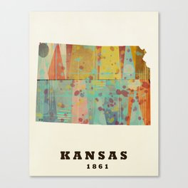 Kansas state map modern Canvas Print