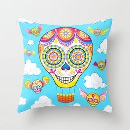 Sugar Skull Hot Air Balloon Throw Pillow