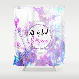 Pastel Marble Floral Wild and Free Shower Curtain