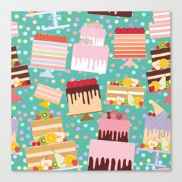 Birthday, valentine's day, wedding, engagement. Set sweet cake, chocolate icing sprinkles Canvas Print